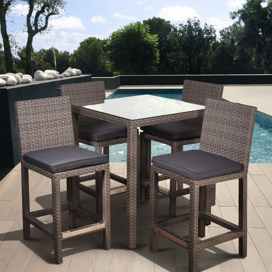 International Home Atlantic 5-Piece Grey Glass Tabletop Bar Patio Dining Set