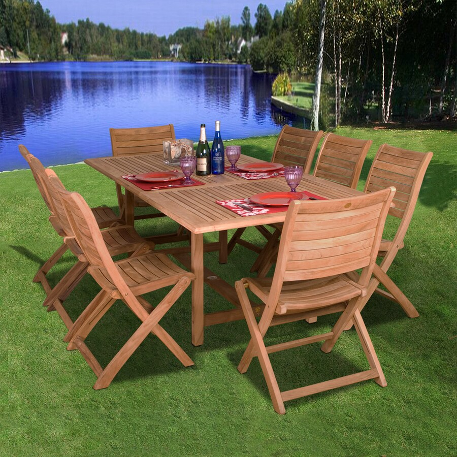 International Home Amazonia 9-Piece Teak Patio Dining Set