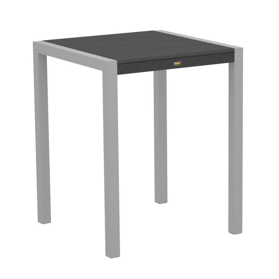 Trex Outdoor Furniture Surf City 29.75-in W x 29.75-in L Textured Silver/Stepping Stone Square Aluminum Bistro Table