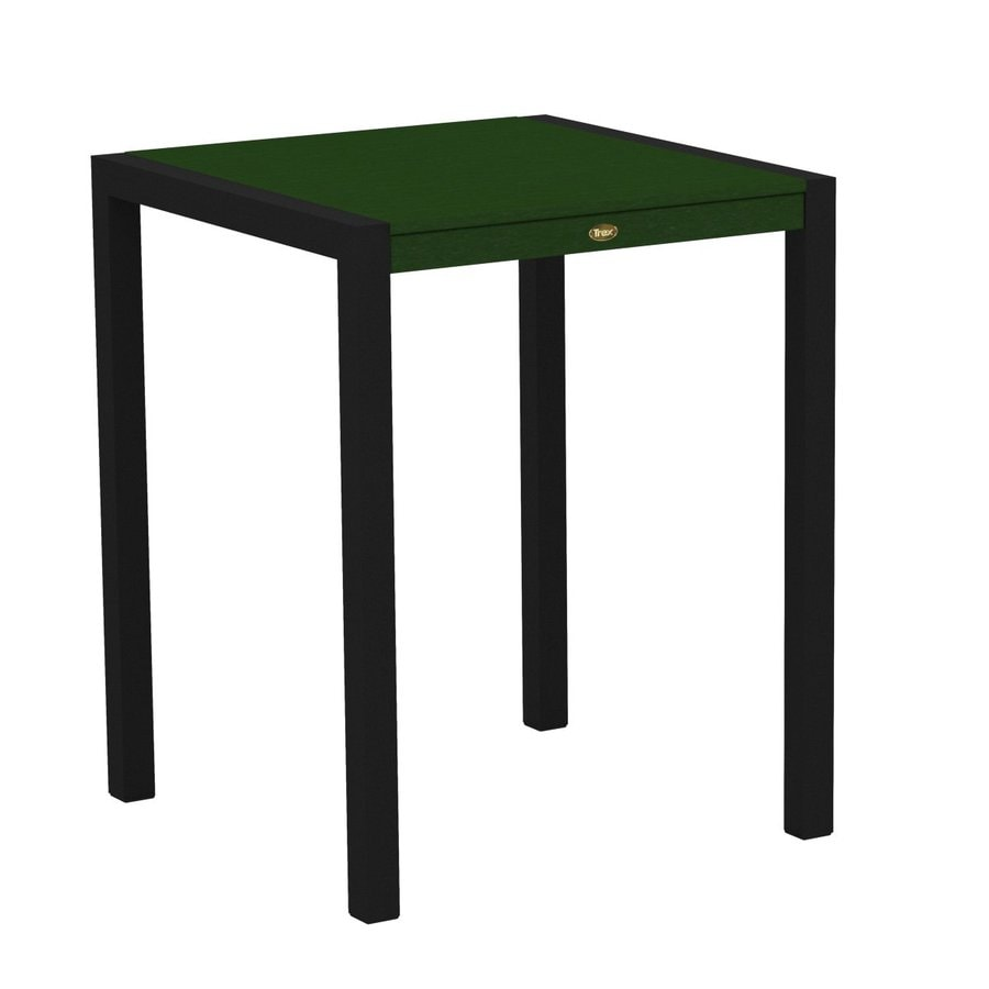Trex Outdoor Furniture Surf City 29.75-in W x 29.75-in L Textured Black/Rainforest Canopy Square Aluminum Bistro Table