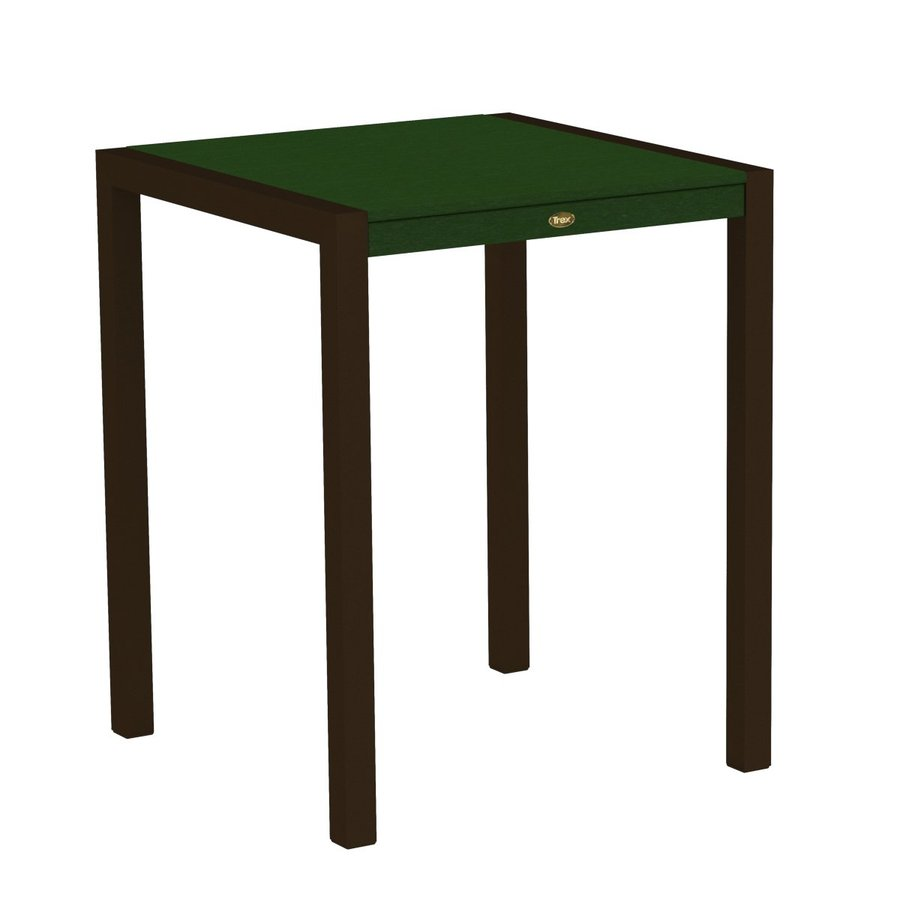 Trex Outdoor Furniture Surf City 29.75-in W x 29.75-in L Textured Bronze/Rainforest Canopy Square Aluminum Bistro Table