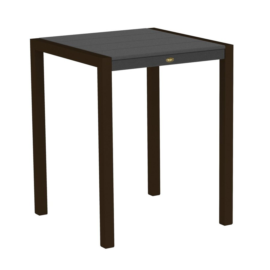Trex Outdoor Furniture Surf City 29.75-in W x 29.75-in L Textured Bronze/Stepping Stone Square Aluminum Bistro Table