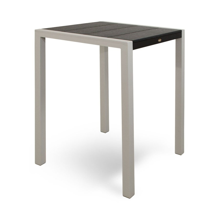 Trex Outdoor Furniture Surf City 29.75-in W x 29.75-in L Textured Silver/Charcoal Black Square Aluminum Bistro Table