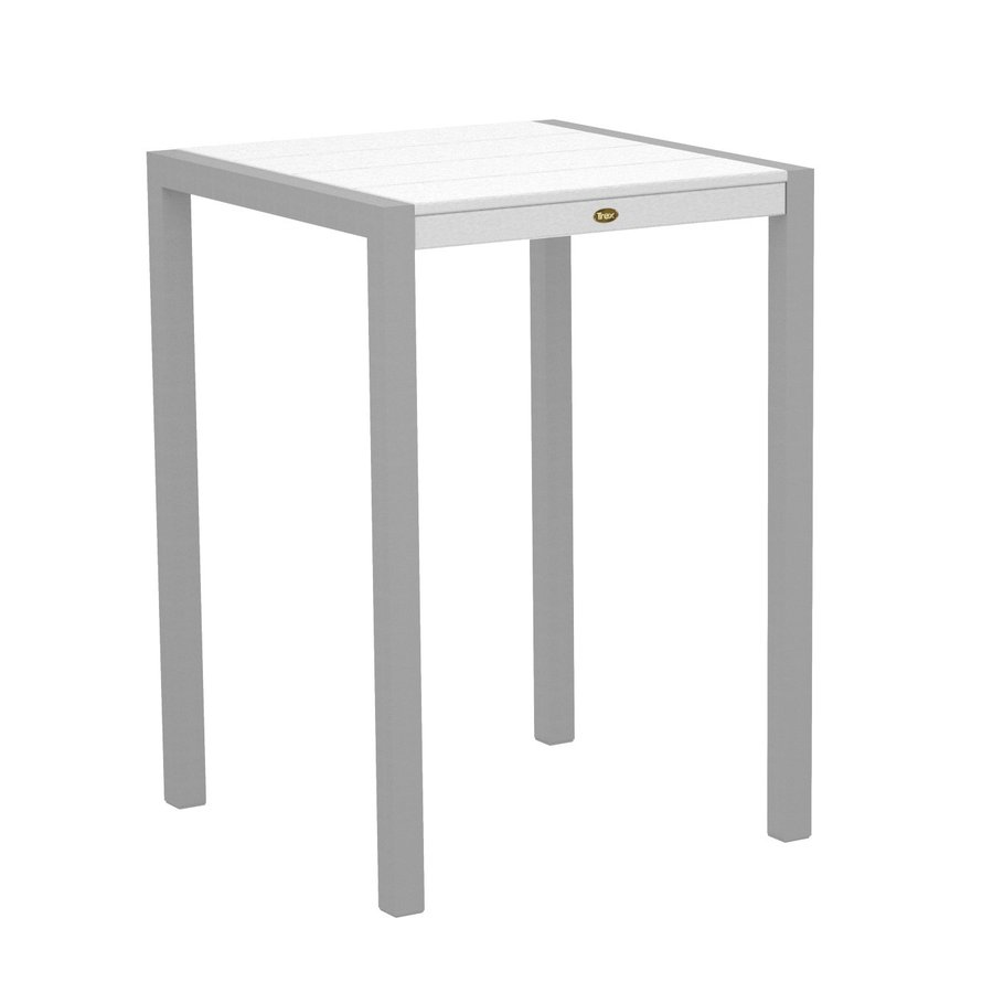 Trex Outdoor Furniture Surf City 29.75-in W x 29.75-in L Textured Silver/Classic White Square Aluminum Bistro Table
