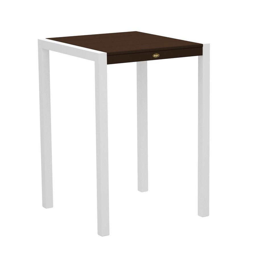 Trex Outdoor Furniture Surf City 29.75-in W x 29.75-in L Textured White/Vintage Lantern Square Aluminum Bistro Table