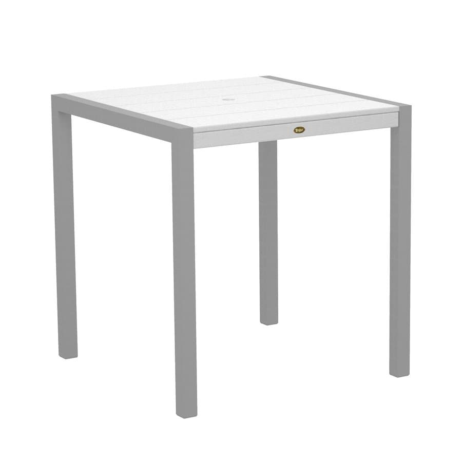 Trex Outdoor Furniture Surf City 35.18-in W x 35.18-in L Textured Silver/Classic White Square Aluminum Bar Table