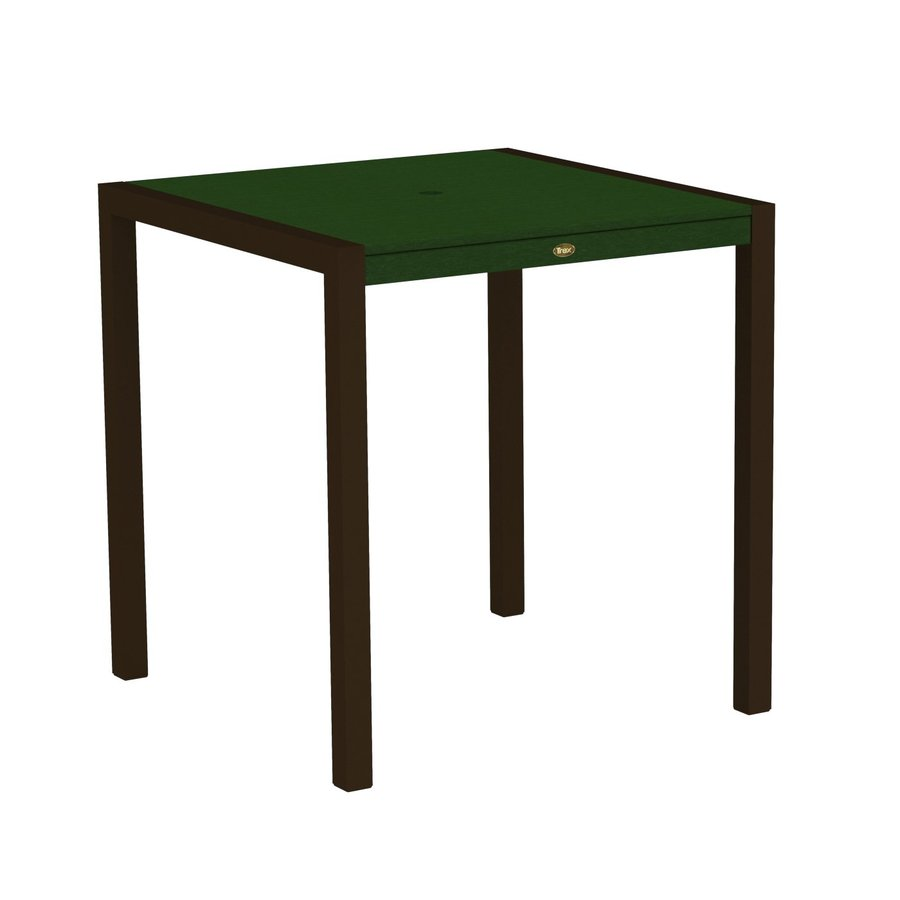 Trex Outdoor Furniture Surf City 35.18-in W x 35.18-in L Textured Bronze/Rainforest Canopy Square Aluminum Bar Table