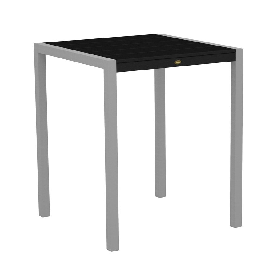 Trex Outdoor Furniture Surf City 35.18-in W x 35.18-in L Textured Silver/Charcoal Black Square Aluminum Bar Table
