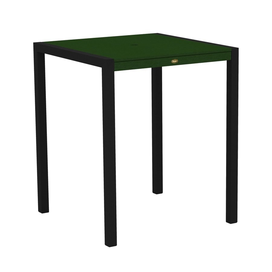 Trex Outdoor Furniture Surf City 35.18-in W x 35.18-in L Textured Black/Rainforest Canopy Square Aluminum Bar Table