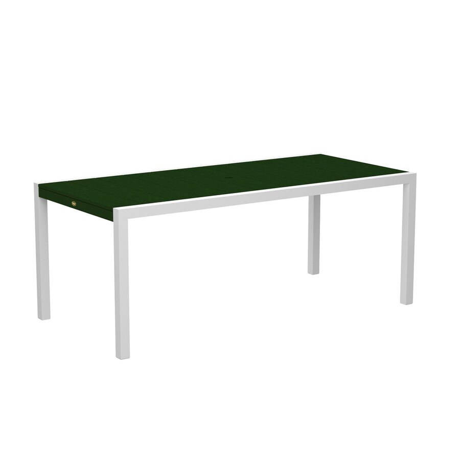 Trex Outdoor Furniture Surf City 35.18-in W x 73.12-in L Textured White/Rainforest Canopy Rectangle Aluminum Dining Table