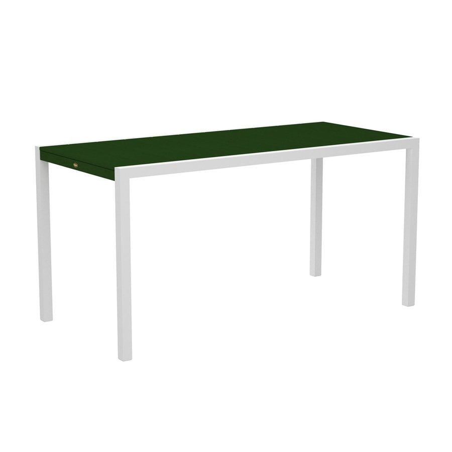 Trex Outdoor Furniture Surf City 35.18-in W x 73.12-in L Textured White/Rainforest Canopy Rectangle Aluminum Bar Table