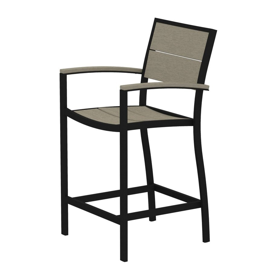 Trex Outdoor Furniture Surf City Textured Black/Sand Castle Aluminum Patio Barstool Chair