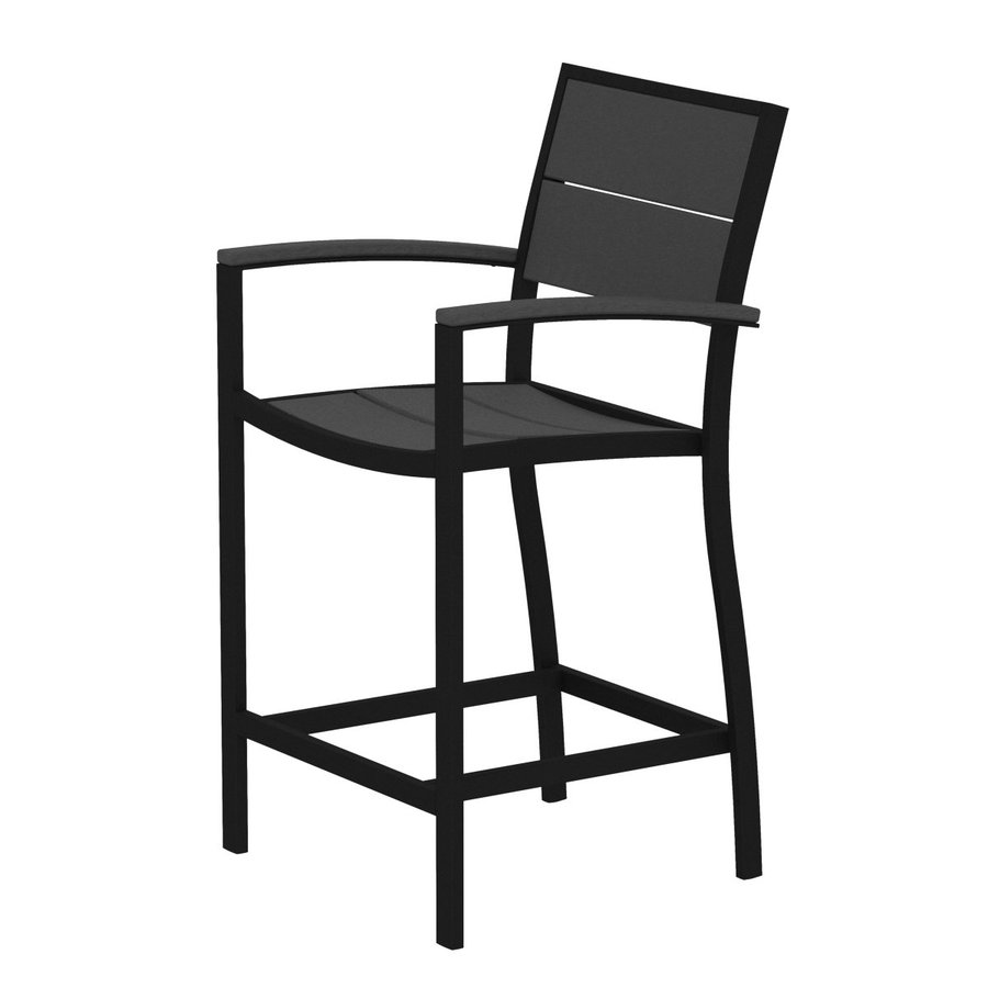 Trex Outdoor Furniture Surf City Textured Black/Stepping Stone Aluminum Patio Barstool Chair