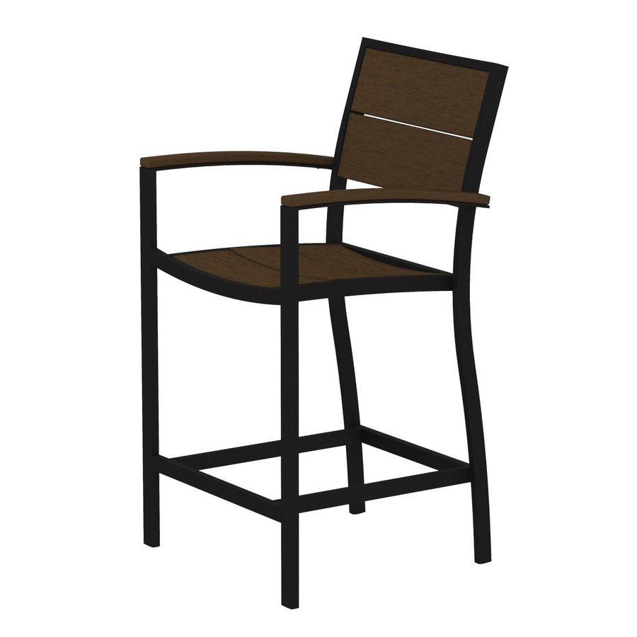 Trex Outdoor Furniture Surf City Textured Black/Tree House Aluminum Patio Barstool Chair