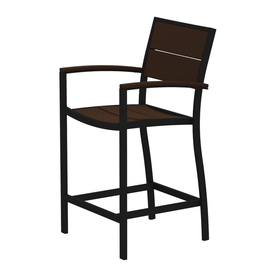 Trex Outdoor Furniture Surf City Textured Black/Vintage Lantern Aluminum Patio Barstool Chair