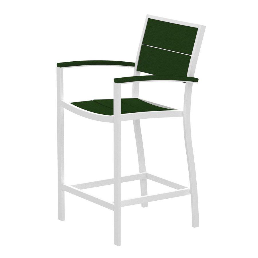 Trex Outdoor Furniture Surf City Textured White/Rainforest Canopy Aluminum Patio Barstool Chair