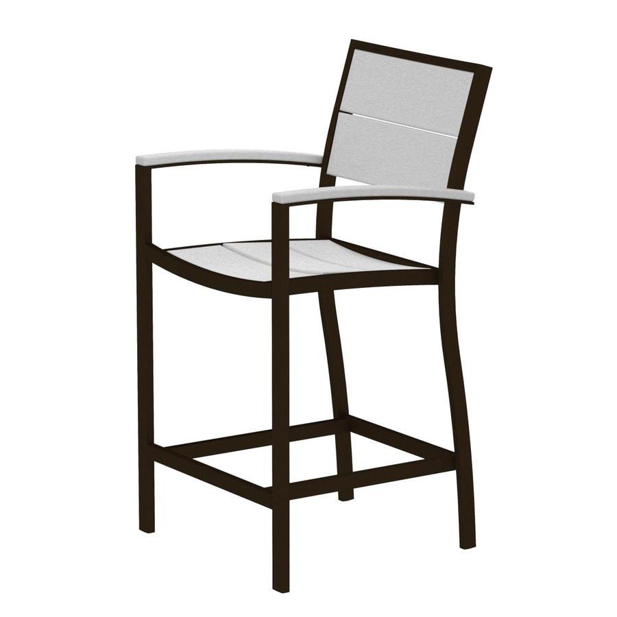 Trex Outdoor Furniture Surf City Textured Bronze/Classic White Aluminum Patio Barstool Chair
