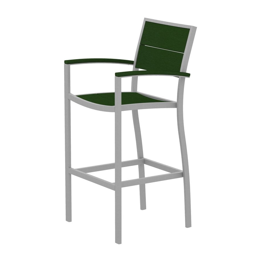 Trex Outdoor Furniture Surf City Textured Silver/Rainforest Canopy Aluminum Patio Barstool Chair