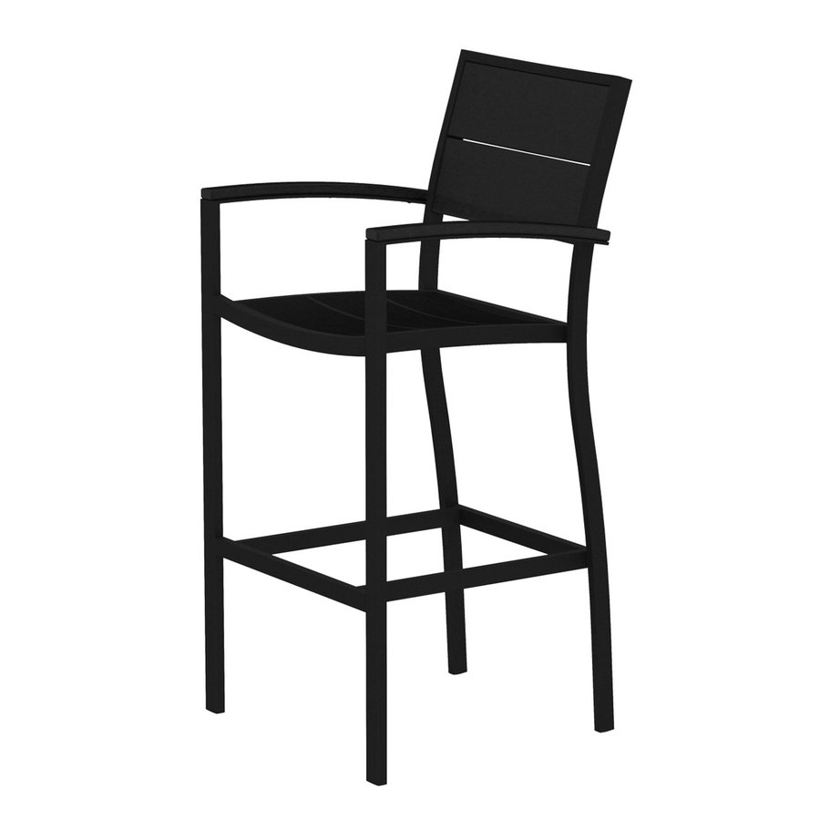 Trex Outdoor Furniture Surf City Textured Black/Charcoal Black Aluminum Patio Barstool Chair