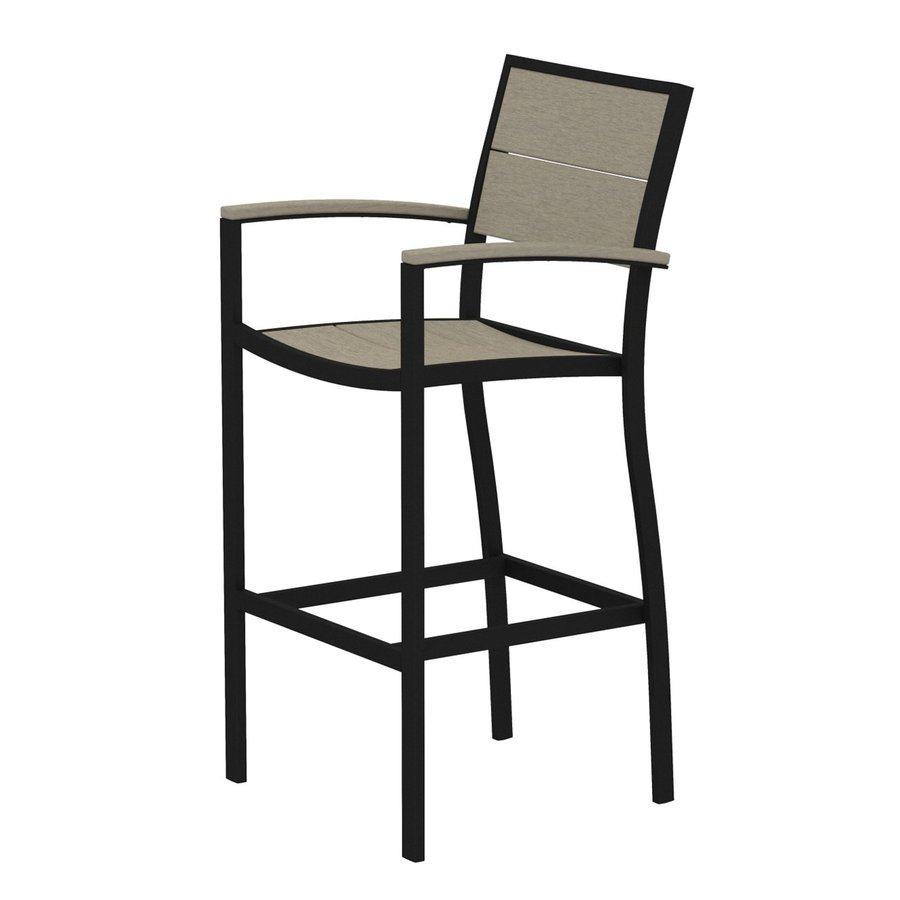 Trex Outdoor Furniture Surf City Textured Black/Sand Castle Aluminum Patio Barstool Chair
