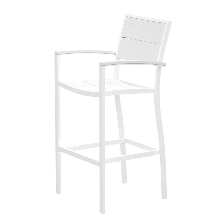 Trex Outdoor Furniture Surf City Textured White/Classic White Aluminum Patio Barstool Chair