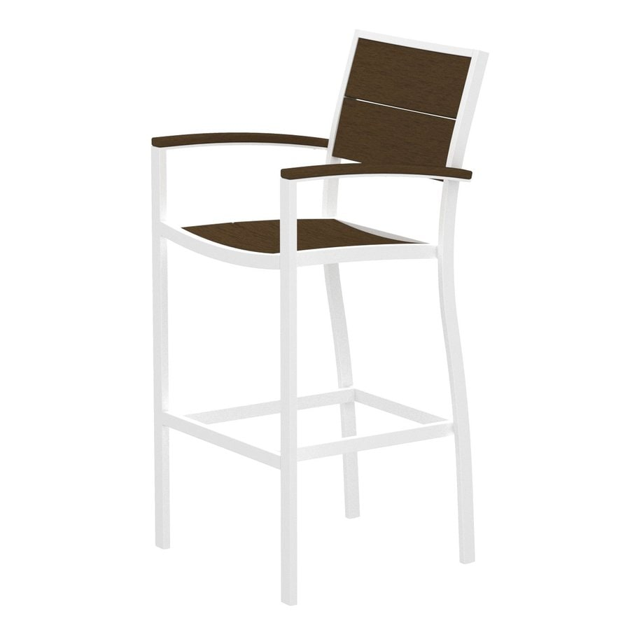 Trex Outdoor Furniture Surf City Textured White/Tree House Aluminum Patio Barstool Chair