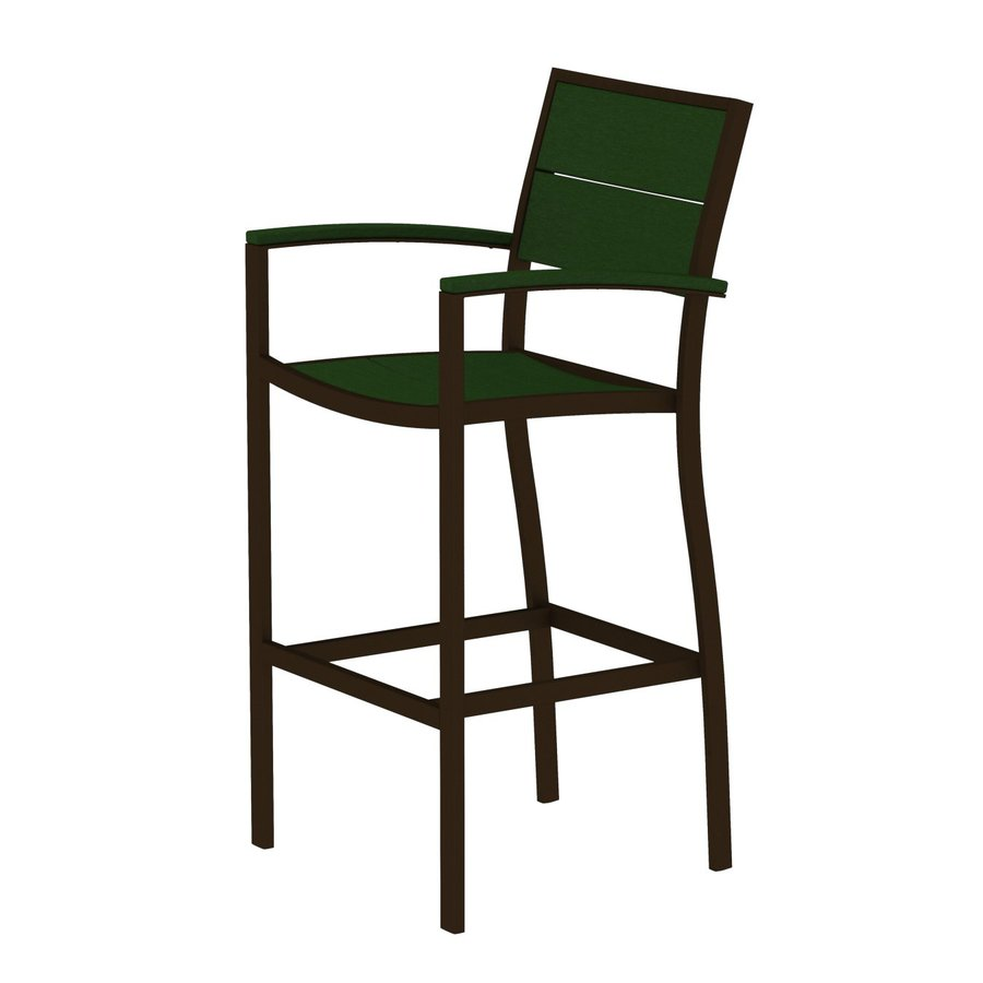 Trex Outdoor Furniture Surf City Textured Bronze/Rainforest Canopy Aluminum Patio Barstool Chair