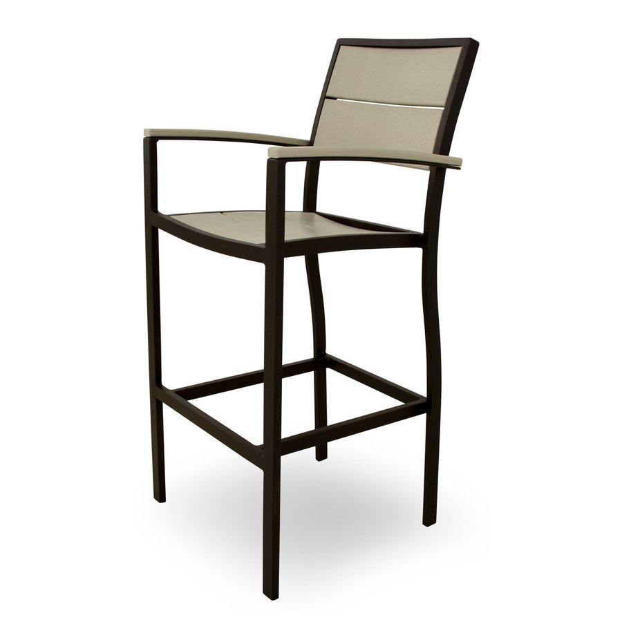 Trex Outdoor Furniture Surf City Textured Bronze/Sand Castle Aluminum Patio Barstool Chair