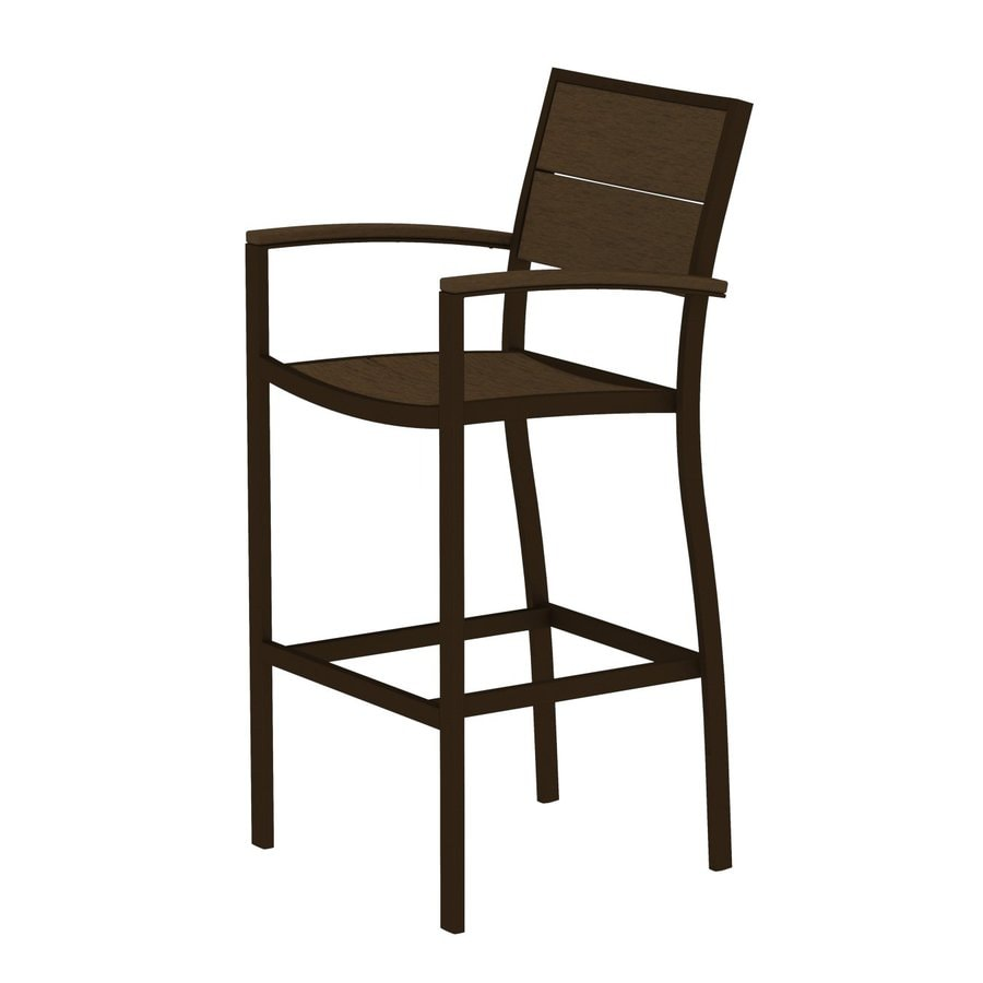 Trex Outdoor Furniture Surf City Textured Bronze/Tree House Aluminum Patio Barstool Chair