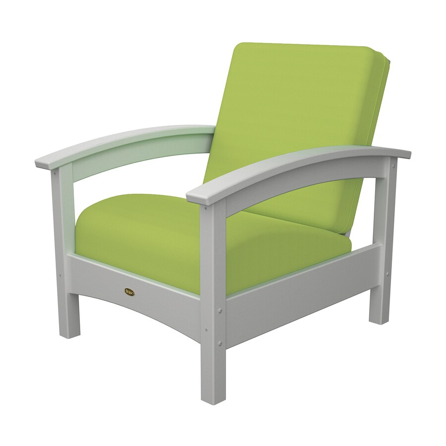 Trex Outdoor Furniture Rockport Classic White/Canvas Macaw Plastic Patio Conversation Chair