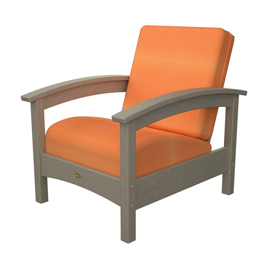 Trex Outdoor Furniture Rockport Sand Castle/Canvas Tangerine Plastic Patio Conversation Chair