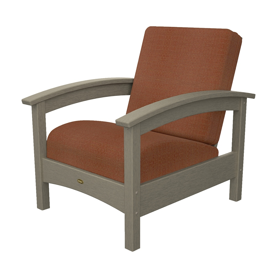 Trex Outdoor Furniture Rockport Sand Castle/Linen Chili Plastic Patio Conversation Chair