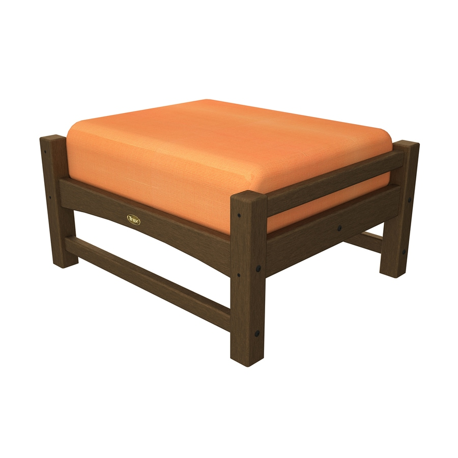 Trex Outdoor Furniture Rockport Tree House/Canvas Tangerine Plastic Ottoman