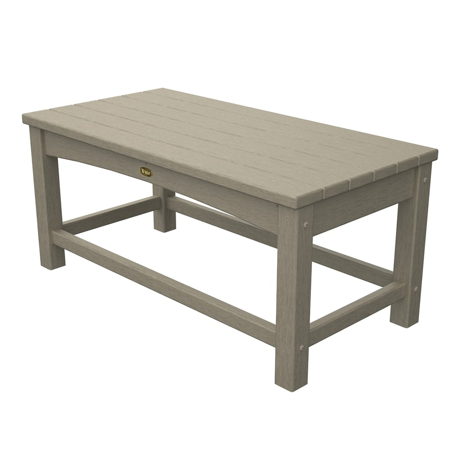 Trex Outdoor Furniture Rockport 17.75-in W x 35.5-in L Sand Castle Rectangle Plastic Coffee Table
