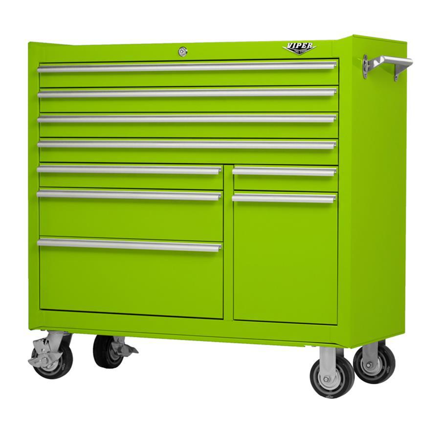 Viper Tool 42-in x 41-in 9-Drawer Ball-Bearing Steel Tool Cabinet (Green)