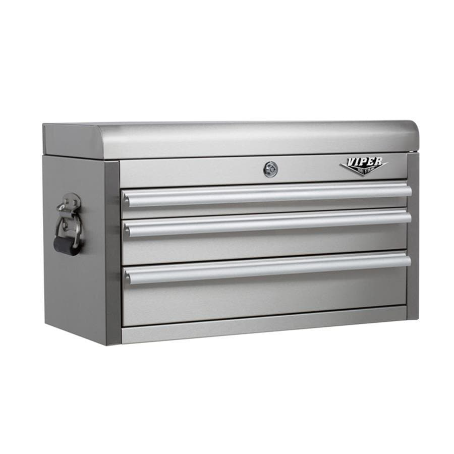 Viper Tool 15.313-in x 26-in 3-Drawer Ball-Bearing Tool Chest (Stainless Steel)