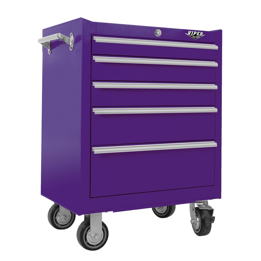 Viper Tool 35.5-in x 26-in 5-Drawer Ball-Bearing Steel Tool Cabinet (Purple)