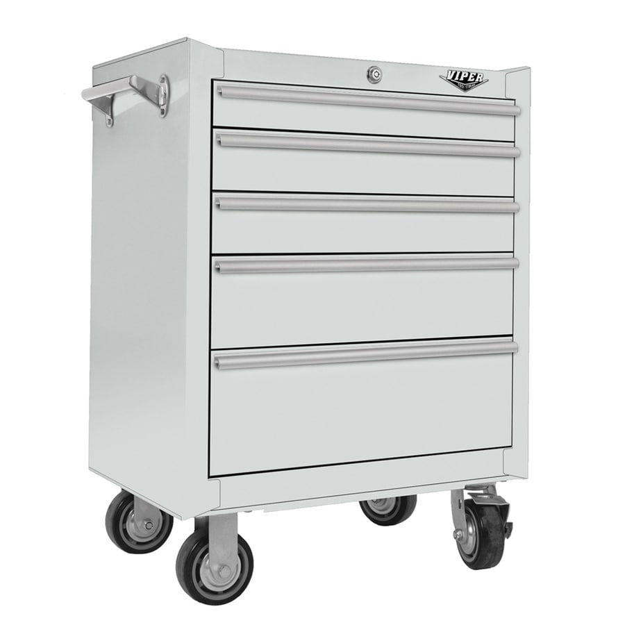 Viper Tool 35.5-in x 26-in 5-Drawer Ball-Bearing Steel Tool Cabinet (White)