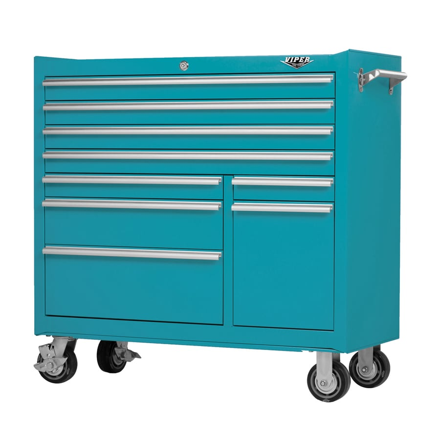 Viper Tool 42-in x 41-in 9-Drawer Ball-Bearing Steel Tool Cabinet (Blue)