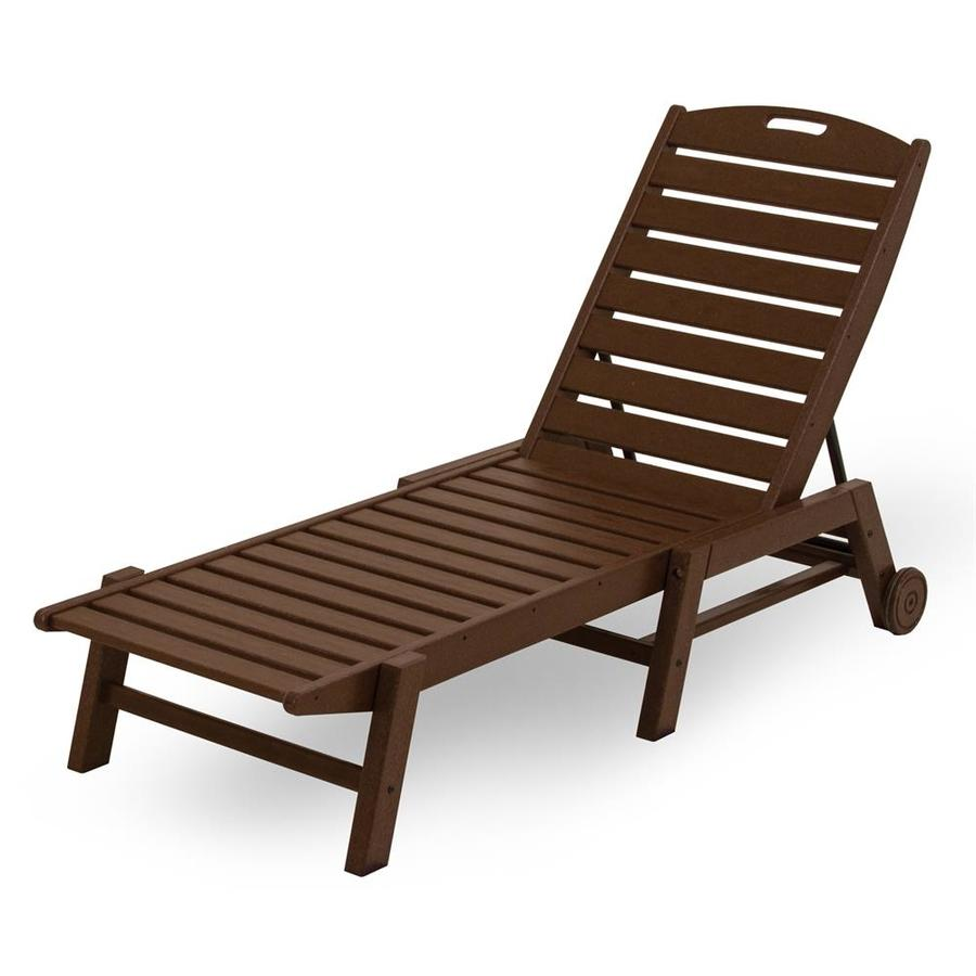 Shop polywood nautical mahogany plastic stackable patio for Outdoor lounge furniture