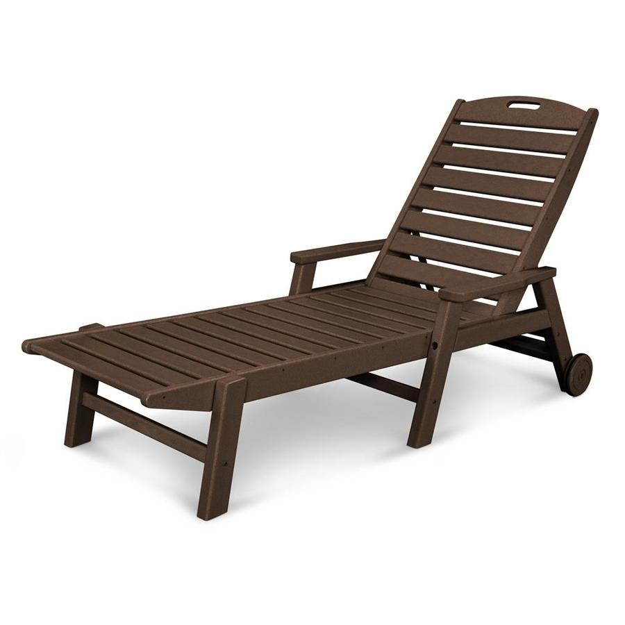 Shop POLYWOOD Nautical Mahogany Plastic Patio Chaise Lounge Chair At