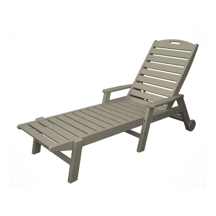 Shop POLYWOOD Nautical Sand Plastic Patio Chaise Lounge Chair At