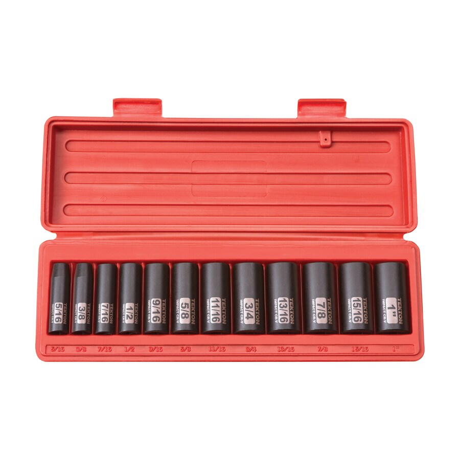 TEKTON 12-Piece 3/8-in Drive Standard 12-Point Impact Socket Set with Case