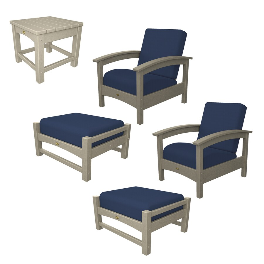 Shop Trex Outdoor Furniture Rockport 5 Piece Plastic Patio Conversation Set At