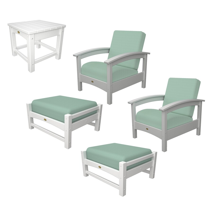 trex outdoor furniture rockport 5 piece plastic patio conversation set