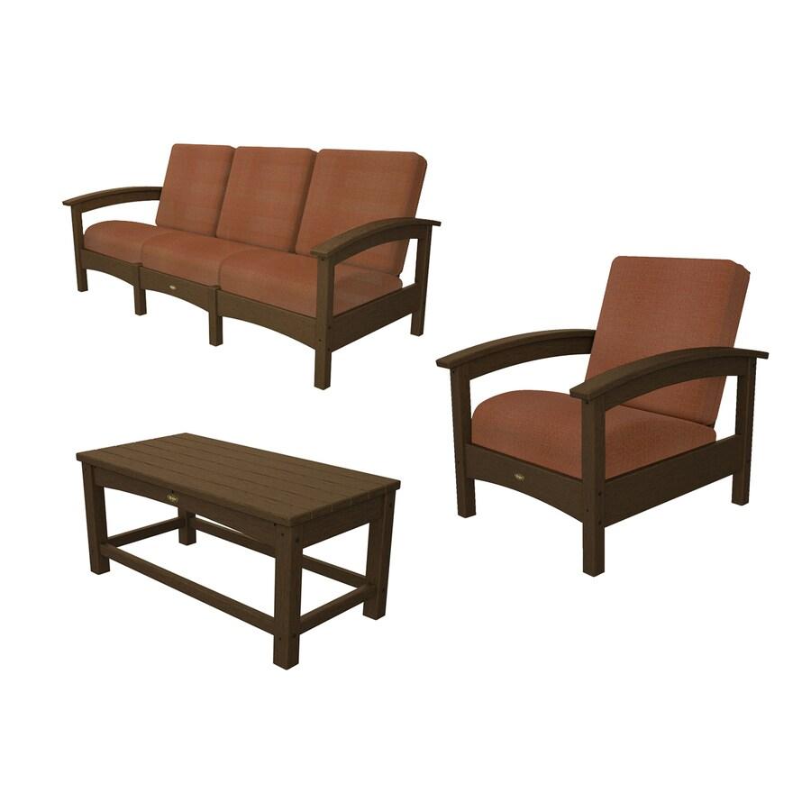 Shop Trex Outdoor Furniture Rockport 3 Piece Plastic Patio Conversation Set At