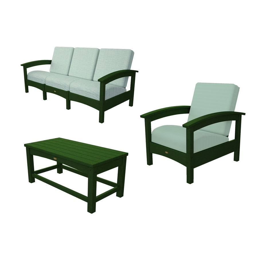 trex outdoor furniture rockport 3 piece plastic patio conversation set