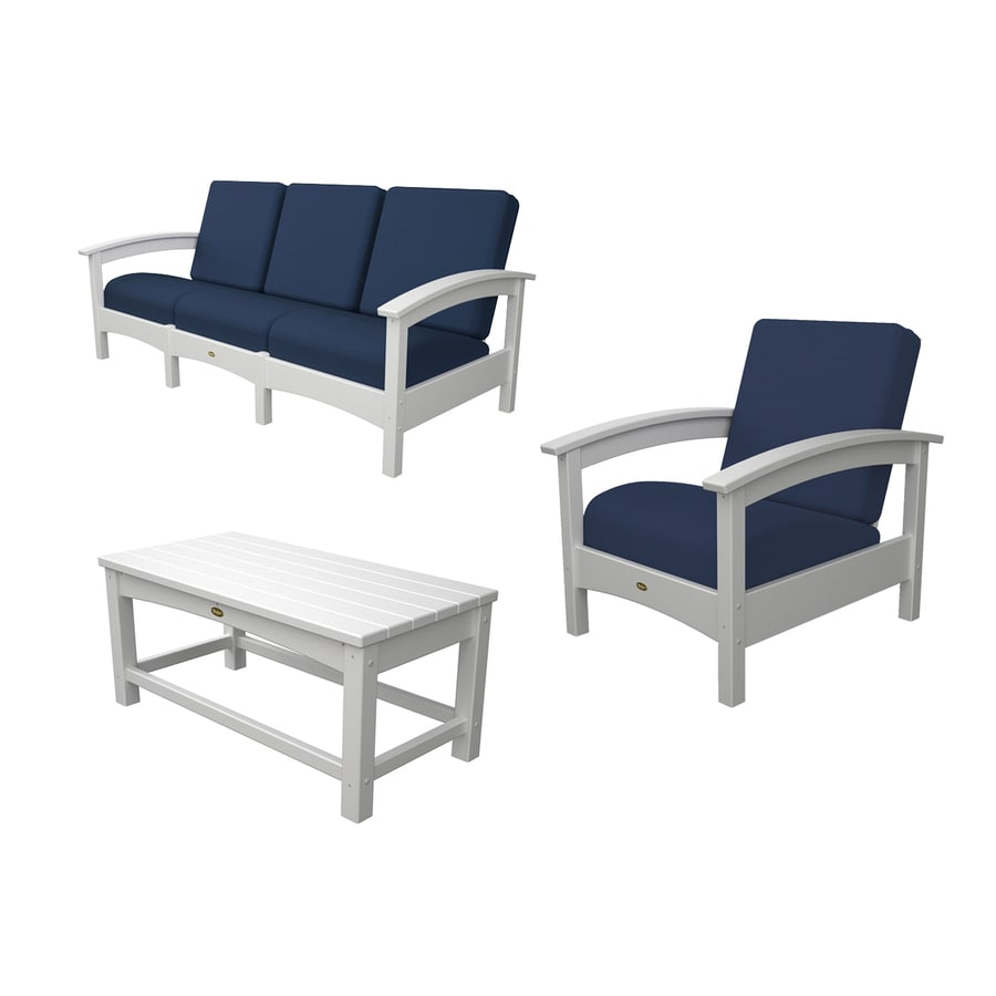 Shop trex outdoor furniture rockport 3 piece plastic patio for Deck furniture