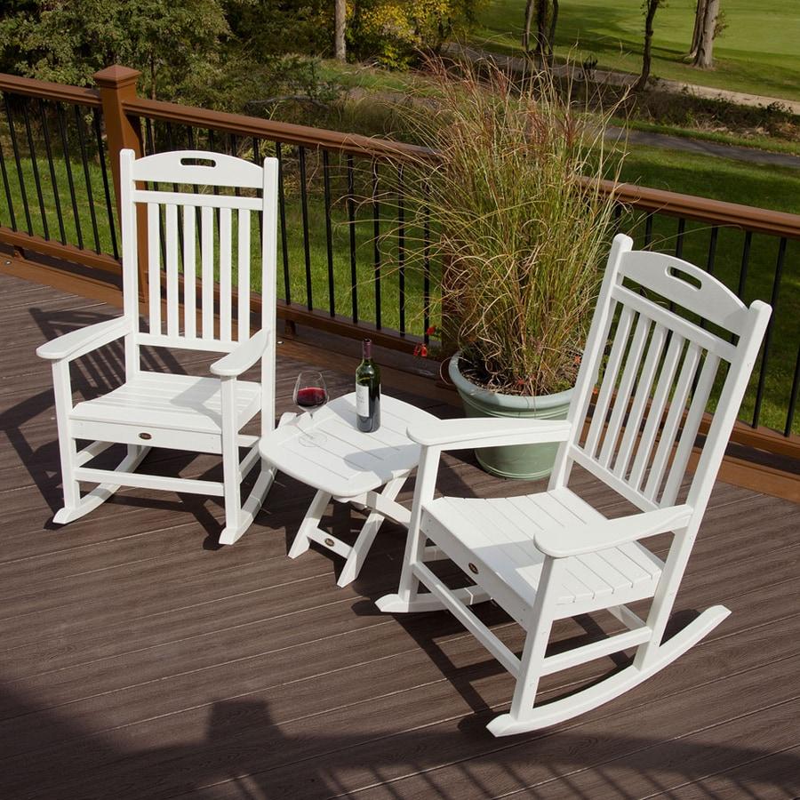trex outdoor furniture yacht club 3 piece plastic patio conversation