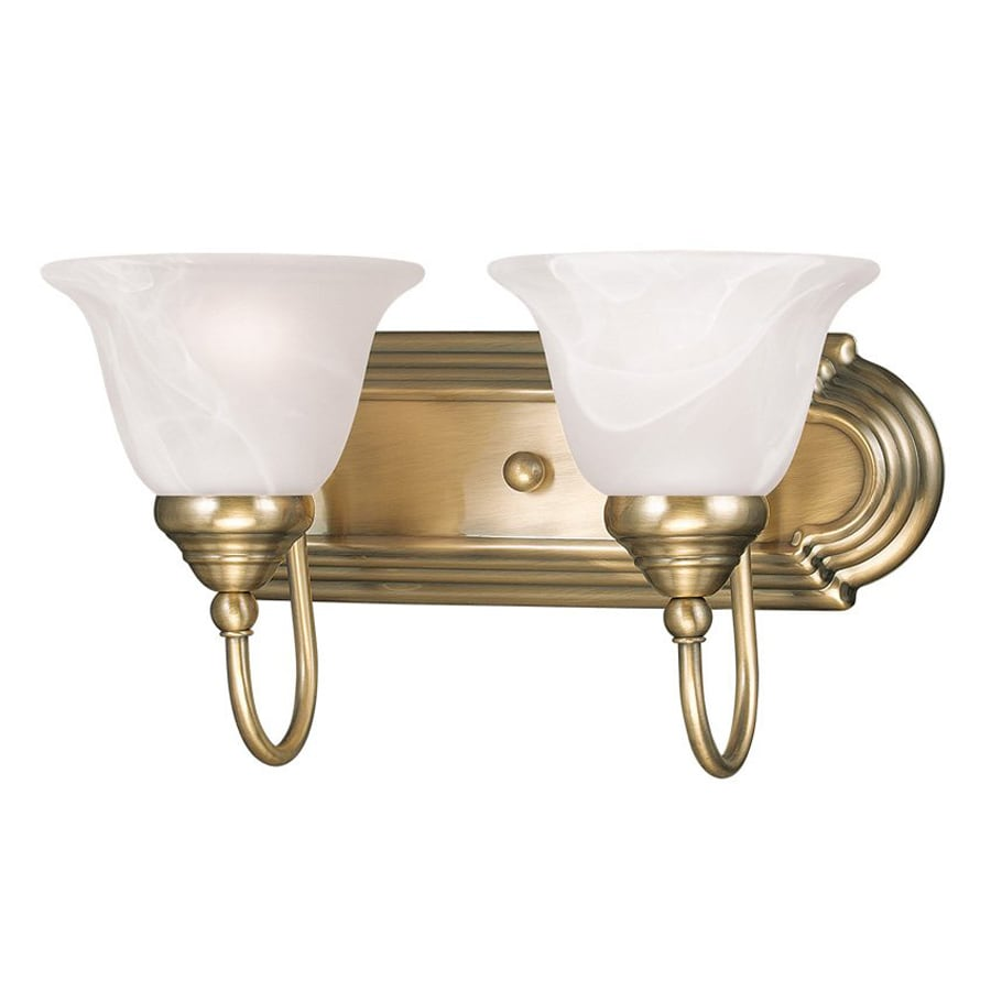 shop livex lighting 2 light belmont antique brass bathroom
